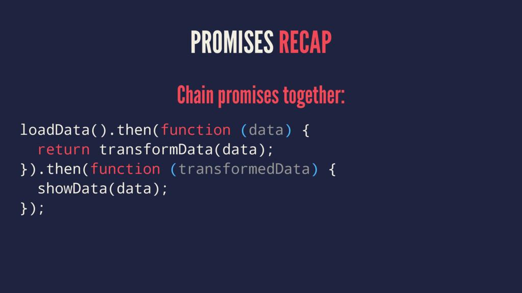 PROMISES RECAP Chain promises together: loadDat...