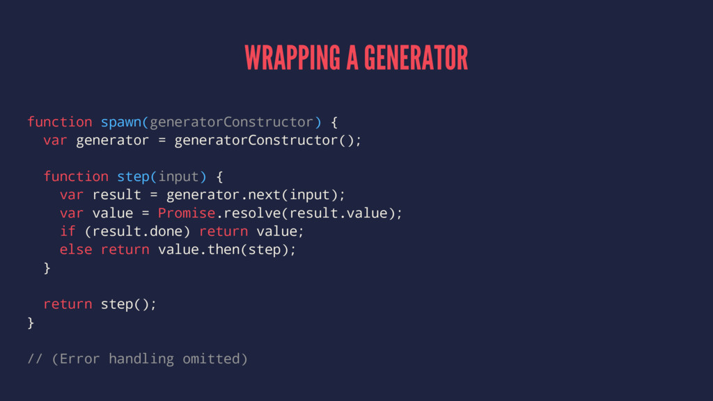 WRAPPING A GENERATOR function spawn(generatorCo...