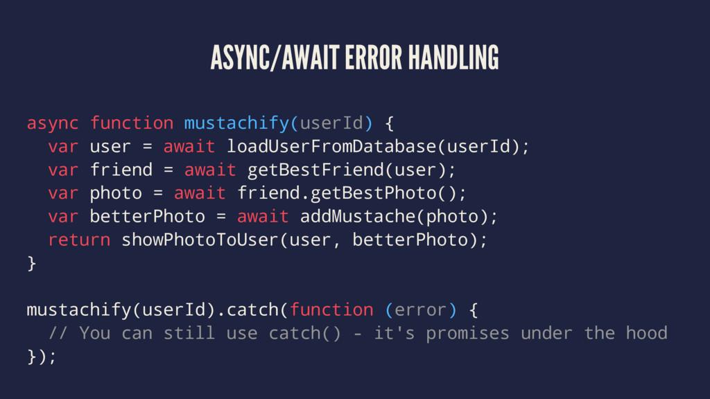 ASYNC/AWAIT ERROR HANDLING async function musta...