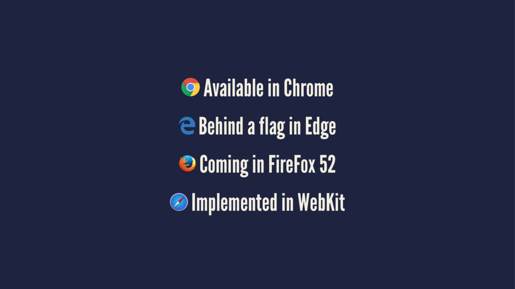 Available in Chrome Behind a flag in Edge Comin...