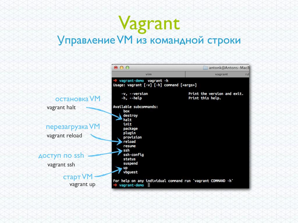 Vagrant Управление VM из командной строки остан...