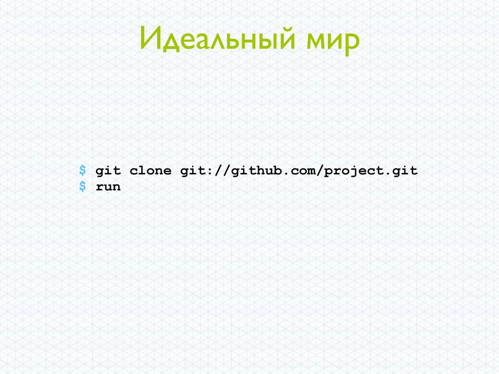 Идеальный мир $ git clone git://github.com/proj...