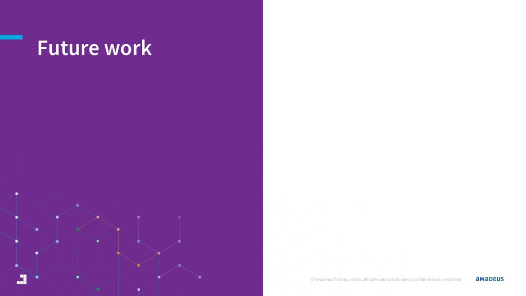 Future work © Amadeus IT Group and its affiliat...
