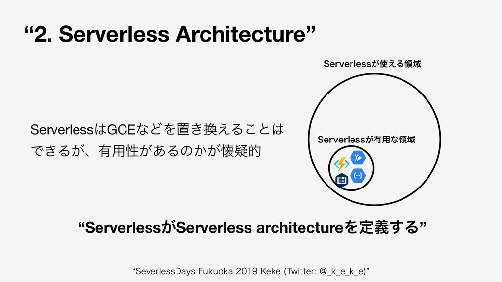 """2. Serverless Architecture"" 4FSWFSMFTT͕༗༻ͳྖҬ 4..."