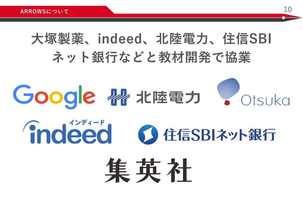 10 ⼤塚製薬、indeed、北陸電⼒、住信SBI ネット銀⾏などと教材開発で協業 ARROW...