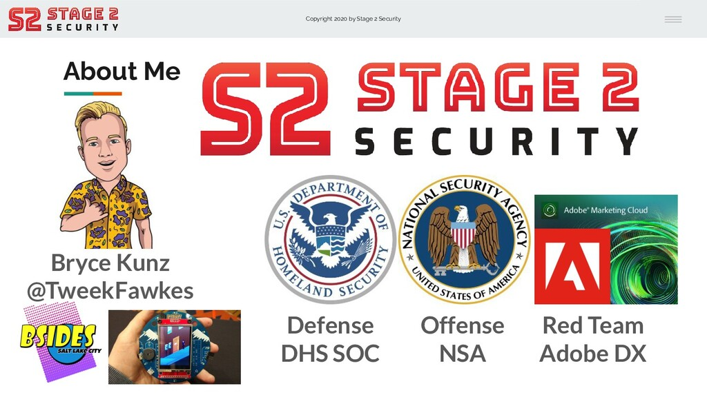 Copyright 2020 by Stage 2 Security About Me Def...