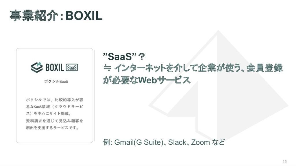 """事業紹介:BOXIL 15 """"SaaS""""? ≒ インターネットを介して企業が使う、会員登録 が..."""