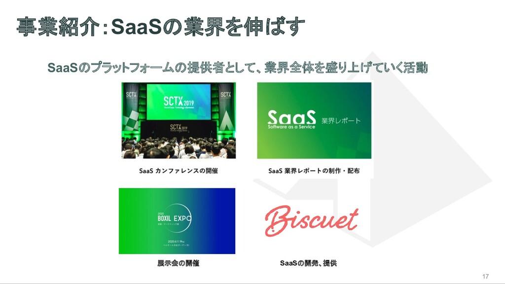 事業紹介:SaaSの業界を伸ばす 17 SaaSのプラットフォームの提供者として、業界全体を盛...