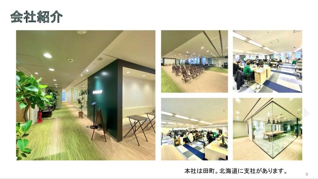 会社紹介 9 本社は田町。北海道に支社があります。