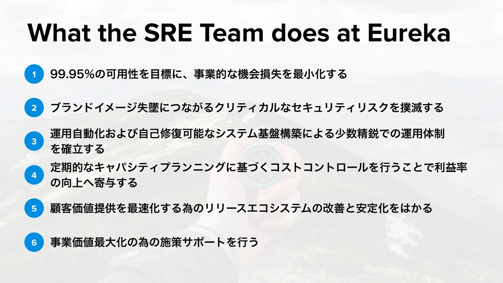 What the SRE Team does at Eureka ͷՄ༻ੑΛ໨ඪʹ...