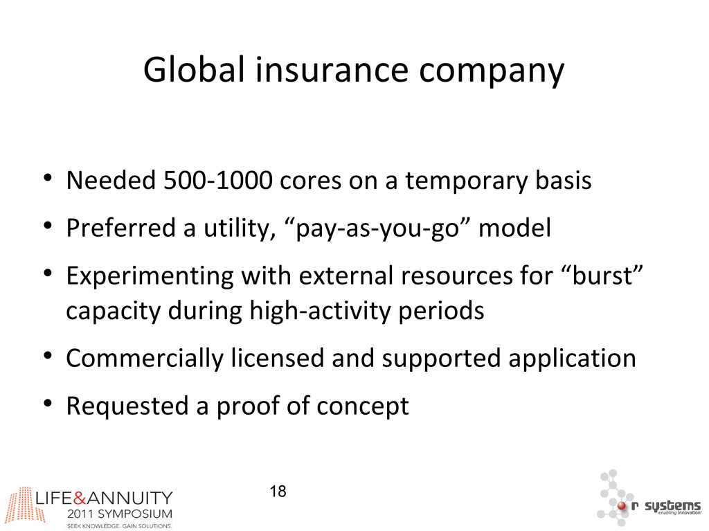 18 Global insurance company  Needed 500-1000 c...