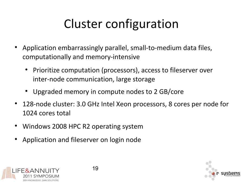 19 Cluster configuration  Application embarras...