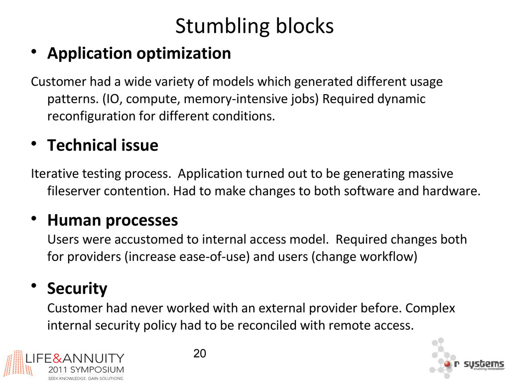20 Stumbling blocks  Application optimization ...