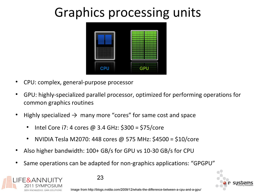 23 Graphics processing units  CPU: complex, ge...