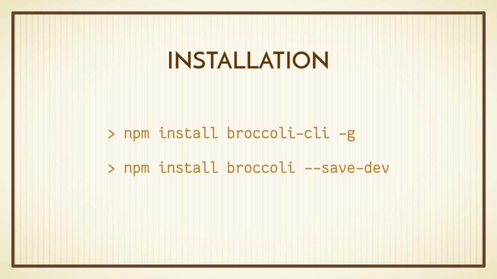 INSTALLATION > npm install broccoli-cli -g > np...