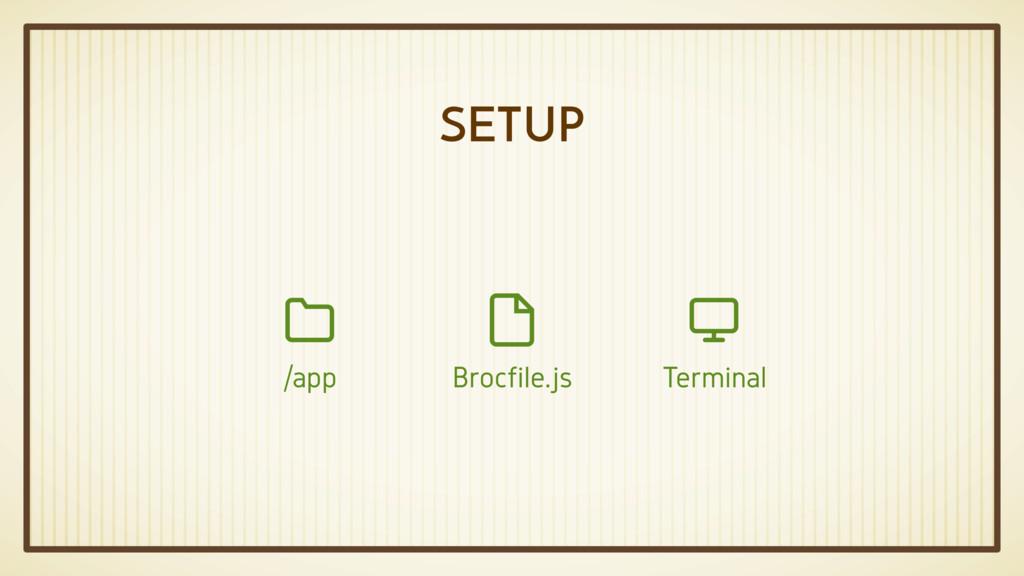 SETUP Brocfile.js  Terminal  /app 