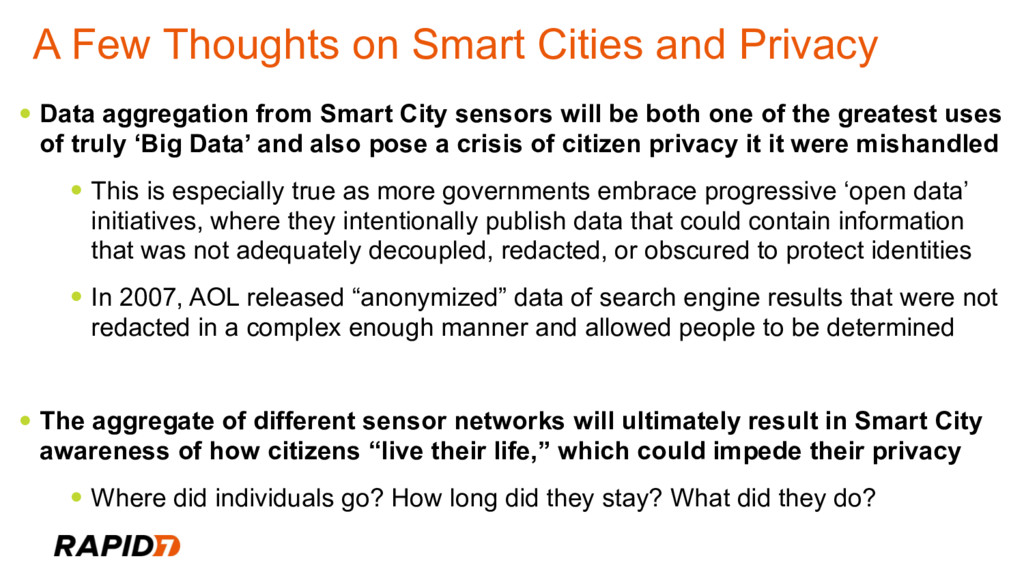 A Few Thoughts on Smart Cities and Privacy • Da...