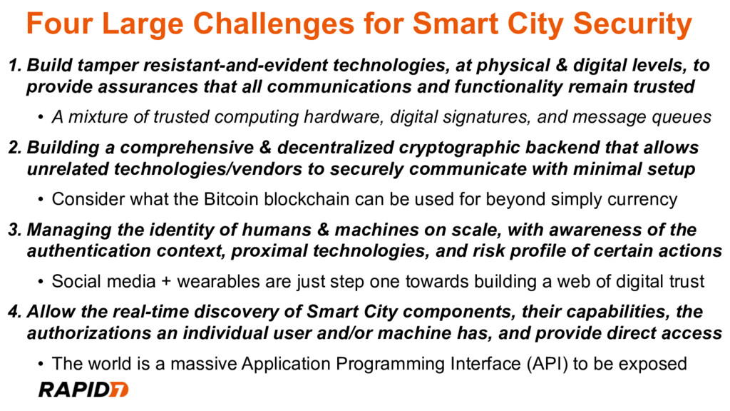 Four Large Challenges for Smart City Security 1...
