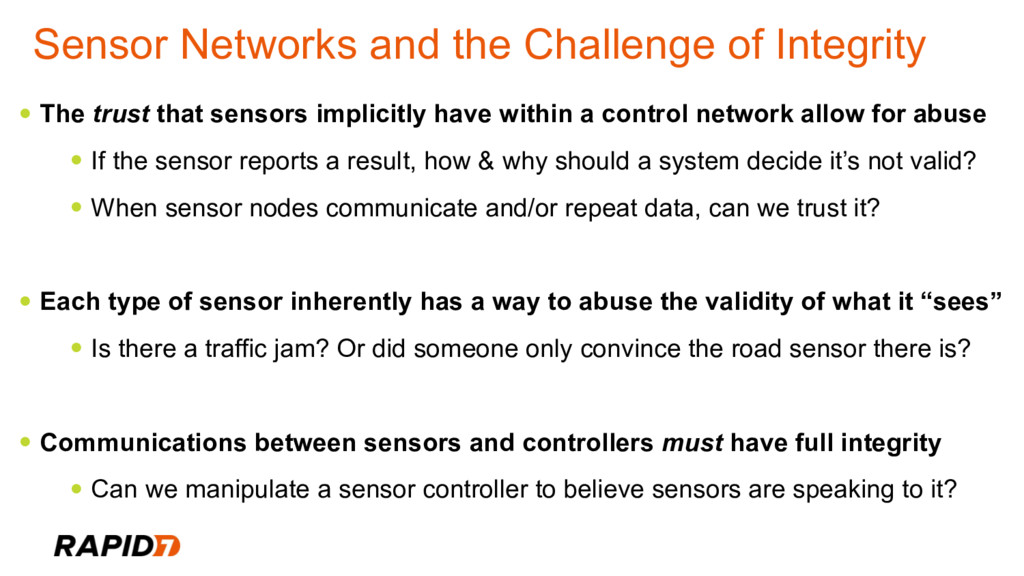 Sensor Networks and the Challenge of Integrity ...