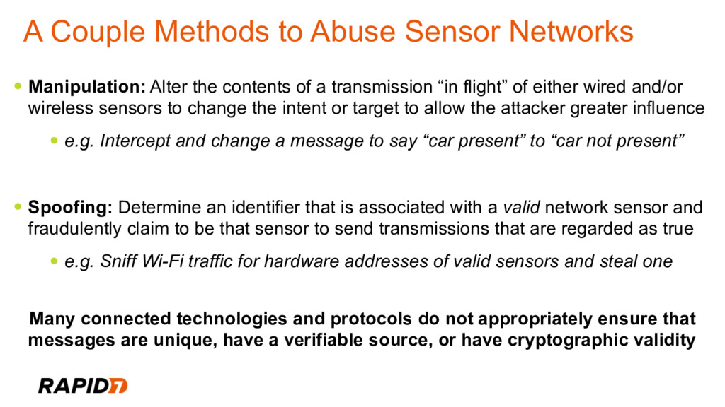 A Couple Methods to Abuse Sensor Networks • Man...