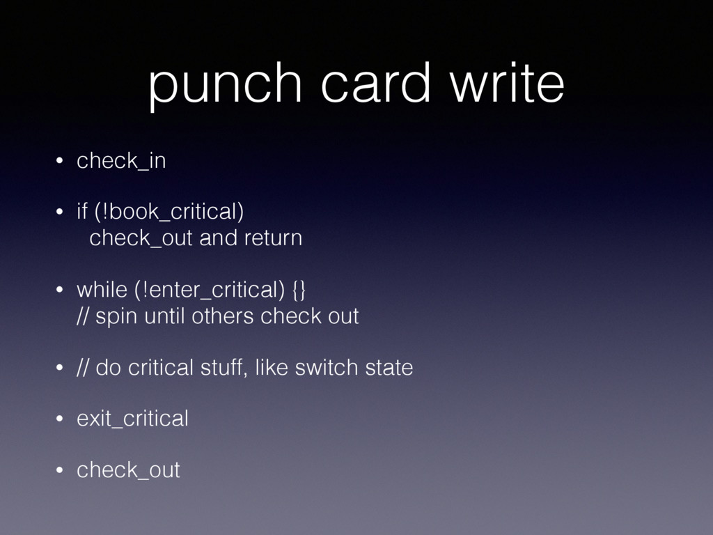 punch card write • check_in • if (!book_critica...