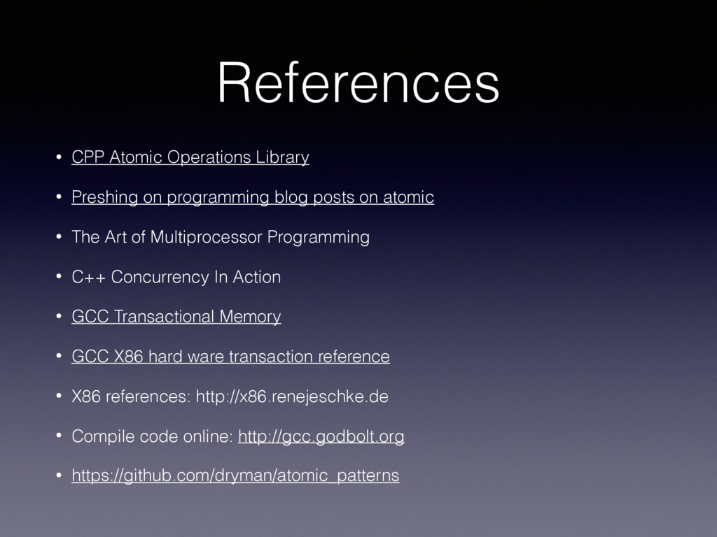 References • CPP Atomic Operations Library • Pr...