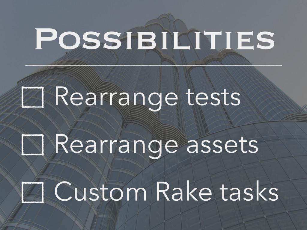 Rearrange tests Rearrange assets Custom Rake ta...