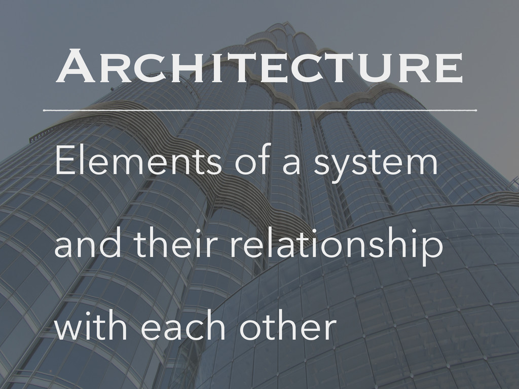 Architecture Elements of a system and their rel...
