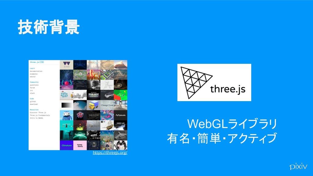 技術背景 WebGLライブラリ 有名・簡単・アクティブ https://threejs.org/
