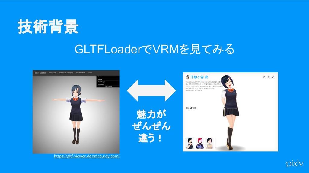 技術背景 GLTFLoaderでVRMを見てみる https://gltf-viewer.do...