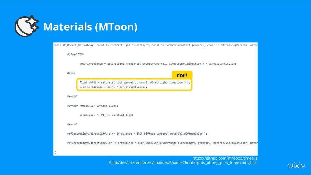 Materials (MToon) https://github.com/mrdoob/thr...
