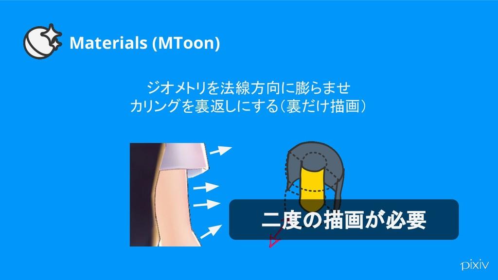 Materials (MToon) ジオメトリを法線方向に膨らませ カリングを裏返しにする(裏...