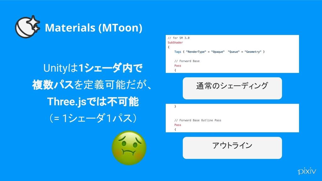 Materials (MToon) Unityは1シェーダ内で 複数パスを定義可能だが、 Th...