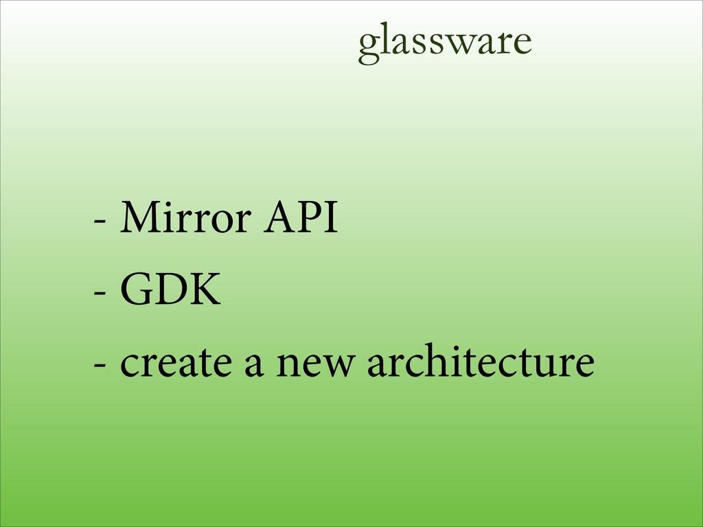 glassware - Mirror API - GDK - create a new arc...