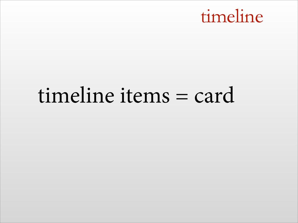 timeline timeline items = card
