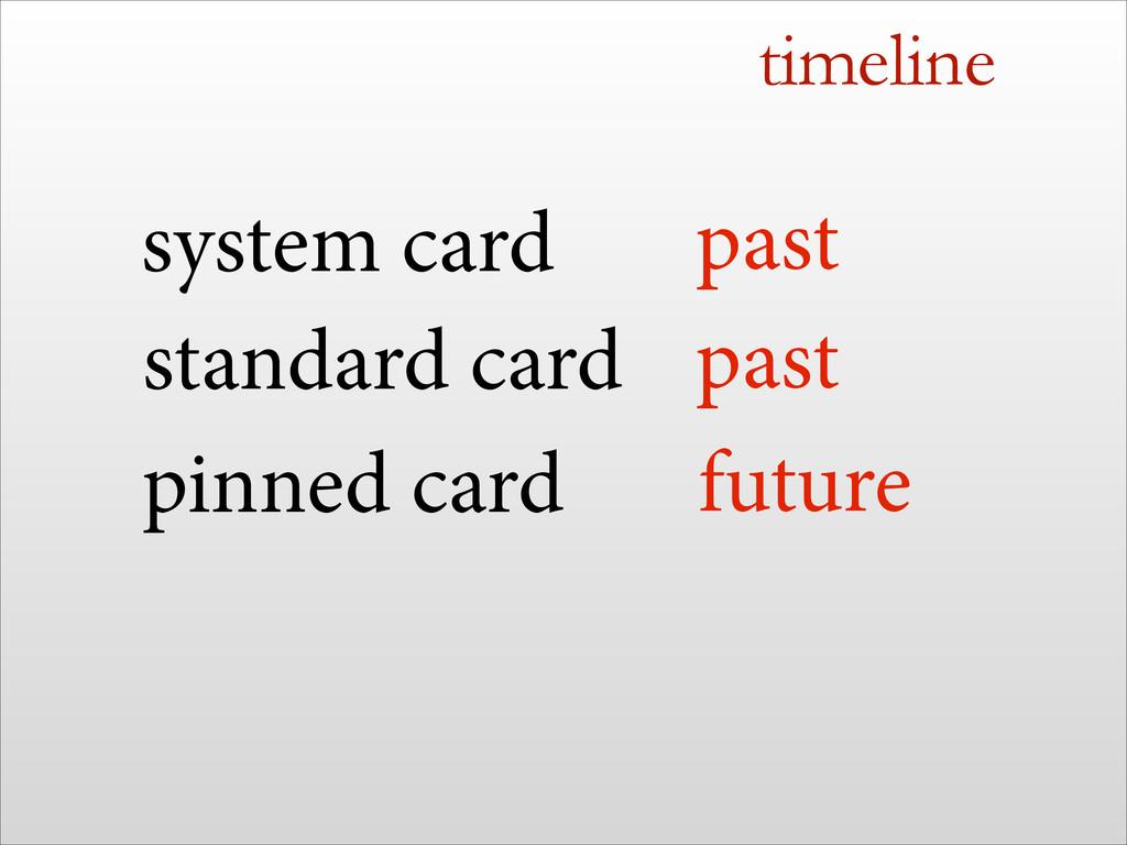 timeline standard card pinned card system card ...