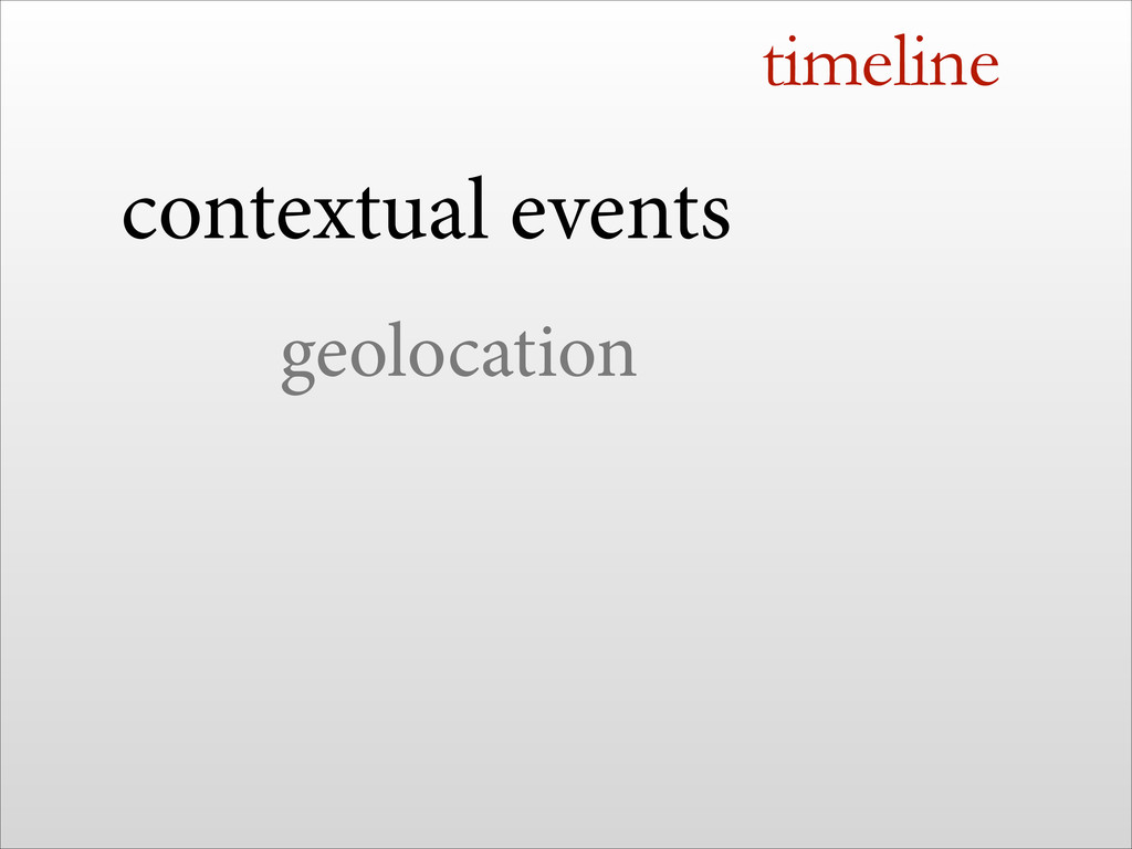 timeline contextual events geolocation !