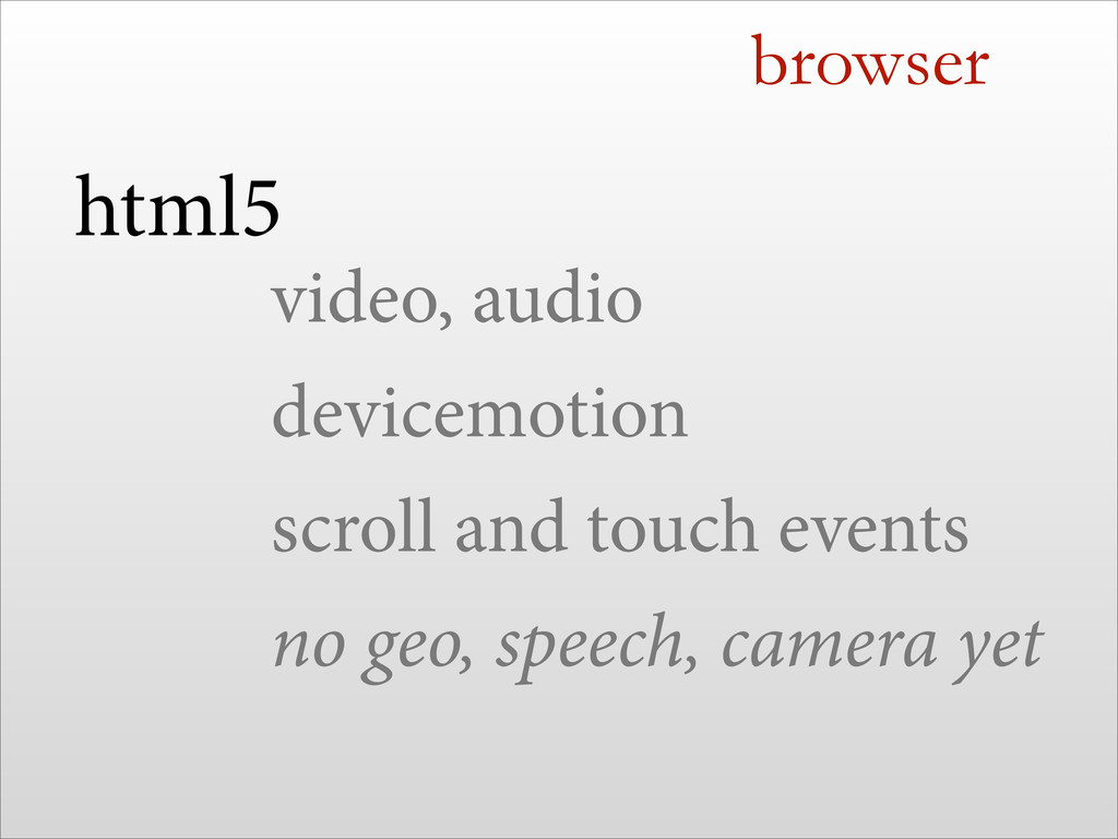 browser html5 video, audio devicemotion scroll ...