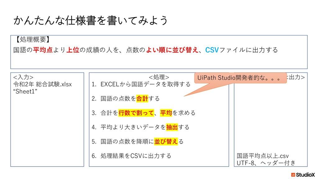 """かんたんな仕様書を書いてみよう <入力> 令和2年 総合試験.xlsx """"Sheet1"""" <出..."""