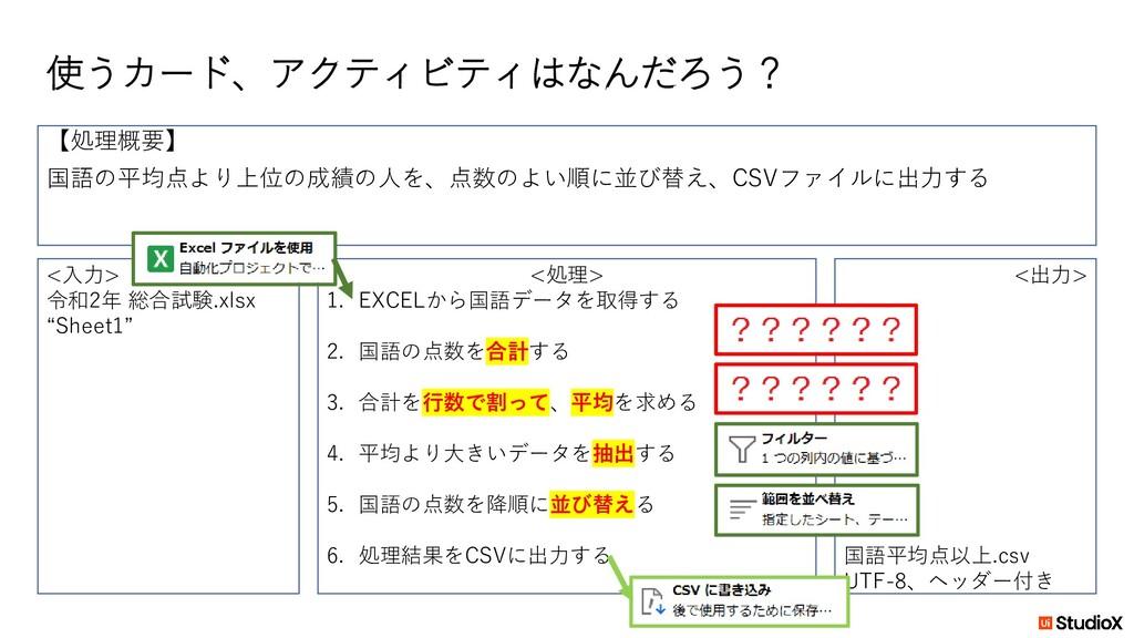 """使うカード、アクティビティはなんだろう? <入力> 令和2年 総合試験.xlsx """"Sheet..."""