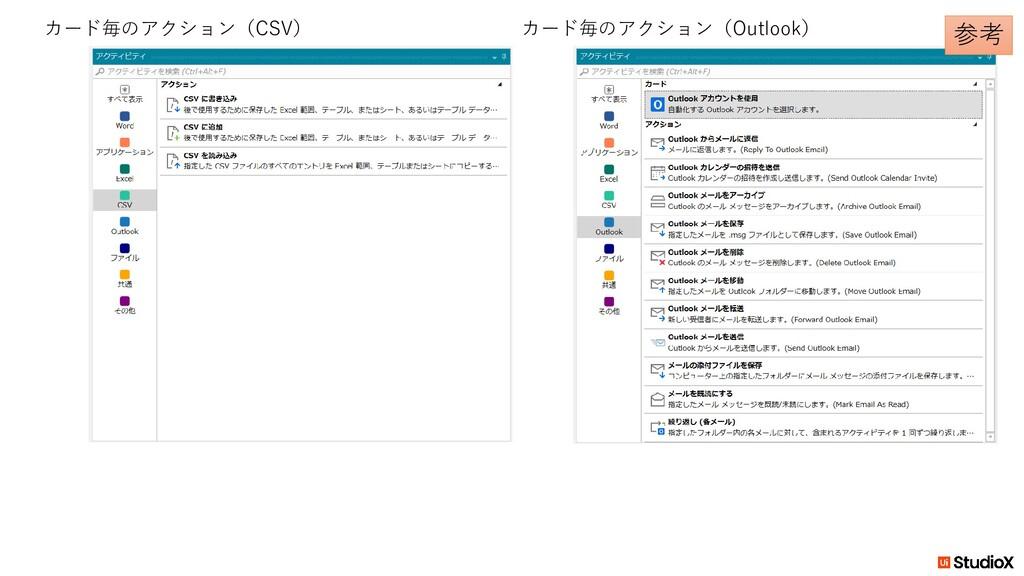 カード毎のアクション(CSV) カード毎のアクション(Outlook) 参考