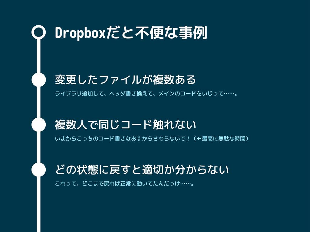 Dropboxだと不便な事例 変更したファイルが複数ある 複数人で同じコード触れない どの状態...
