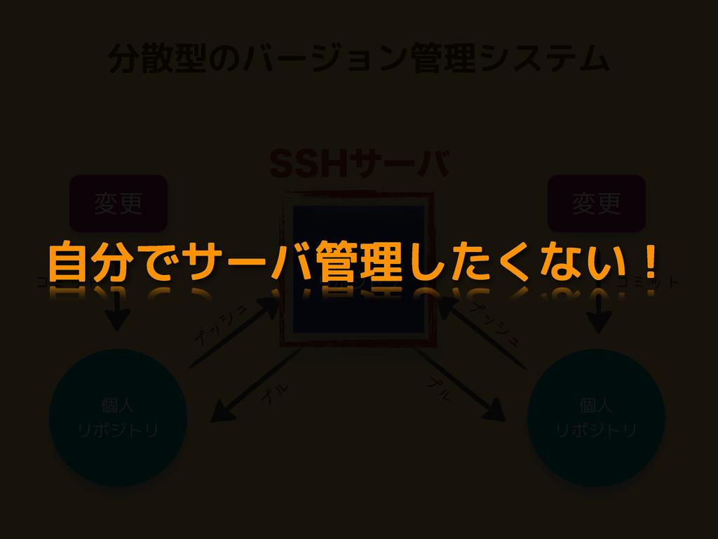 分散型のバージョン管理システム 変更 共有 リポジトリ コミット コミット プ ッ シ ュ プ...