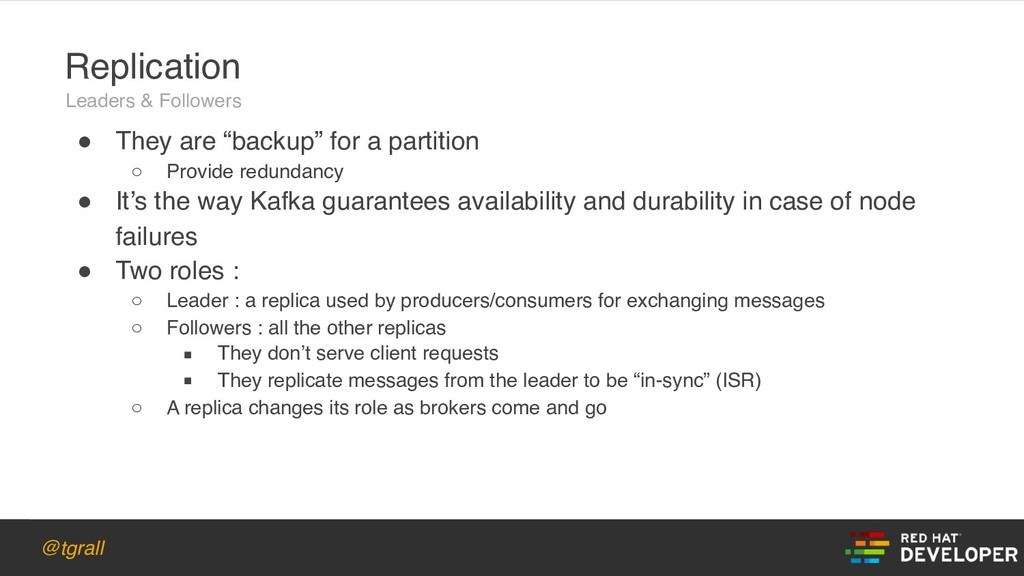 "@tgrall ! They are ""backup"" for a partition ○ P..."