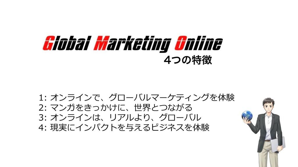 ͭͷಛ 1: オンラインで、グローバルマーケティングを体験 2: マンガをきっかけに、世界...