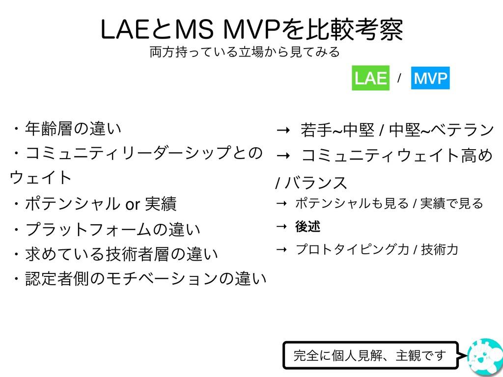 "-""&ͱ.4.71Λൺֱߟ શʹݸਓݟղɺओ؍Ͱ͢ LAE MVP ɾྸͷҧ͍ ɾί..."