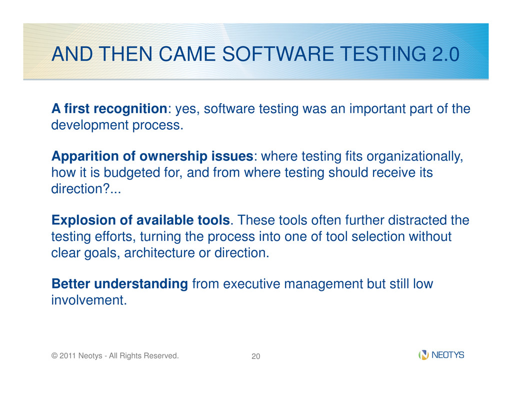 AND THEN CAME SOFTWARE TESTING 2.0 A first reco...
