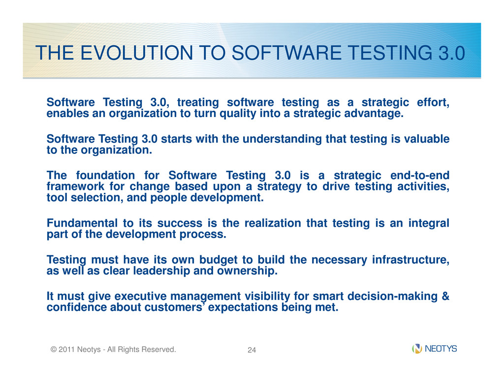THE EVOLUTION TO SOFTWARE TESTING 3.0 Software ...