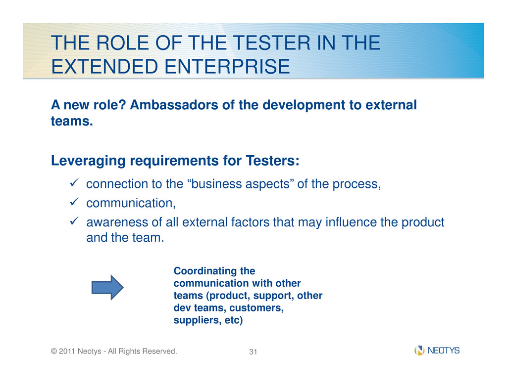 THE ROLE OF THE TESTER IN THE EXTENDED ENTERPRI...