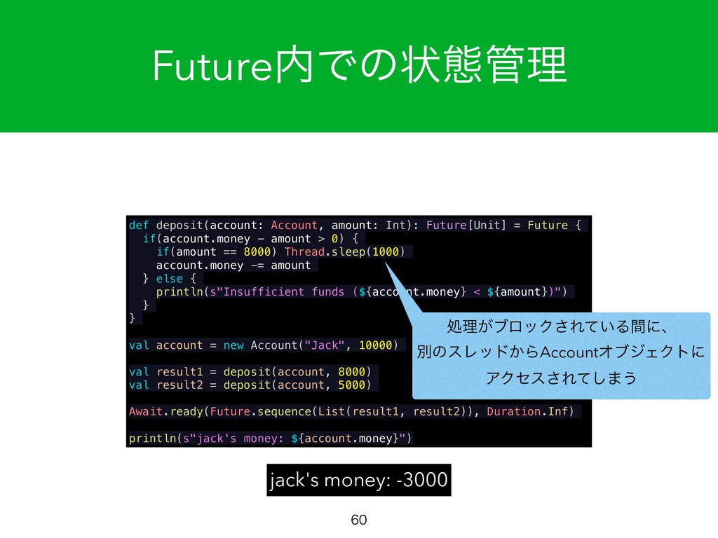 Future಺Ͱͷঢ়ଶ؅ཧ  jack's money: -3000 def deposi...